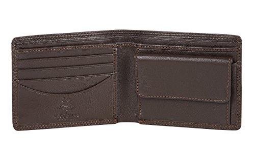 Visconti portafoglio di pelle da uomo a piegatura doppia BOND Luxury Leather Wallet (BD10): (Marrone (Brown))
