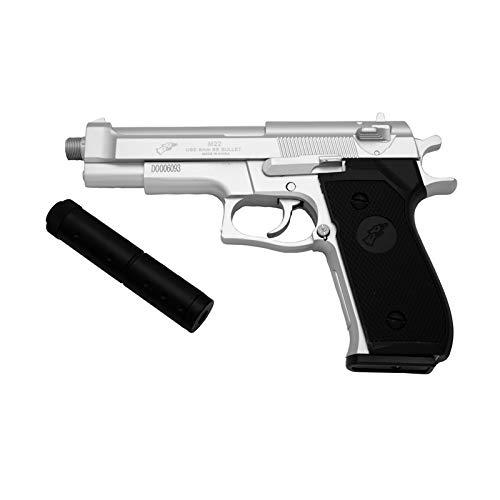Pistola Double Eagle M22 Tipo Beretta 92F con estabilizador - Plata - Pistola Muelle Calibre 6 mm - Energía 0.42 Julios - Velocidad de Disparo 83 m/s - 275 FPS. Ref:M22B