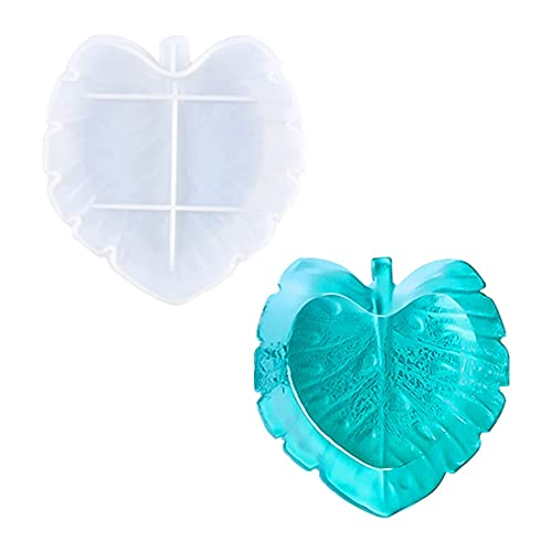 Voyyphixa Resin Tray Molds Box Silicone Mold Leaf Resin Molds Jewelry Tray Mold for Epoxy Resin Fruit Plate Casting Molds in Tropical Leaf DIY Salad Plate Storage Box Ashtray Coaster Crafts(Palm leaf)