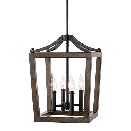 "Kira Home Hollis 17"" 4-Light Modern Farmhouse Foyer Lantern Pendant Light + Wood Style Metal Frame, Black Accents + Walnut Style Finish"