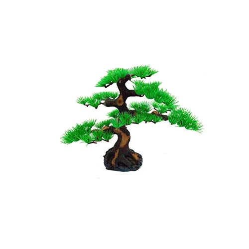 Hamiledyi Aquarium Plant Artificial Pine Tree Plastic Plant Decor for Aquarium Fish Tank Bonsai Ornament, Green