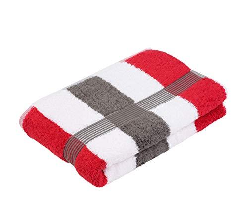 Gözze Duschtuch, 100% Baumwolle, 70 x 140 cm, New York, Streifen, Anthrazit/Weiß/Rot, 555-8600-5