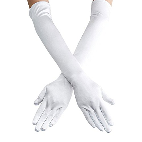 Women's 22'' Long Satin Finger Gloves White Elbow Length 1920s Opera Bridal Dance Gloves For Evening Party Opera Costume, White