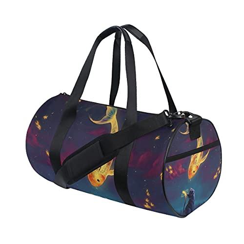 FANTAZIO Gimnasio Duffel Bag Clock Golden Fish Cat Pattern Mens Gym Duffel Bag