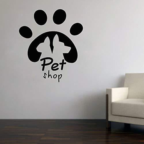 Tianpengyuanshuai huisdier-wandstickers, dieren, muurstickers, katten, honden, decoratie, ramen, wanddecoratie, deurstickers, voor slaapkamer, zelfklevend, stap met logo, 63 x 55 cm