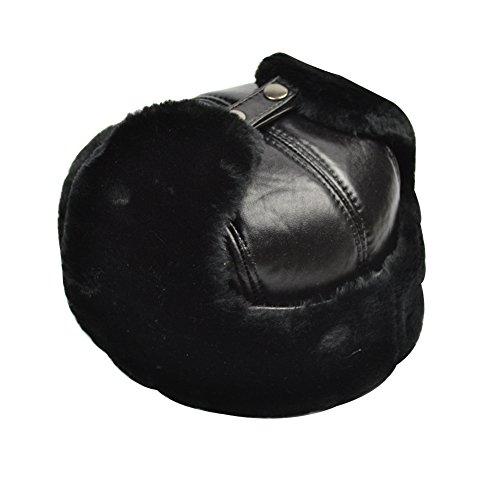 Yosang Trapper Hat Winter Hunter Ushanka Ear Flaps Sport Leather Black Hat (XXL (22.75-23.5 in))