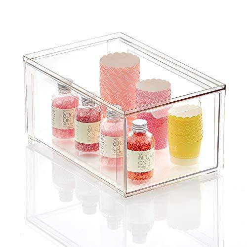 mDesign Cajón organizador para la cocina – Caja apilable de plástico para los armarios de la cocina y la nevera – Organizador de cocina para aperitivos, pasta, verduras, etc. – transparente