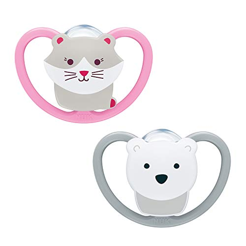 NUK Space Baby Schnuller | 6-18 Monate | Schnuller mit extra Belüftung | BPA-freies Silikon | Katze und Eisbär | 2 Stück