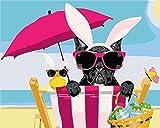 N-L Pintura por números Perro de Playa Pintura al óleo DIY para niños y Adultos Kits para Principiantes Lienzo preimpreso Arte Decoración del hogar 16X20 Pulgadas Sin Marco