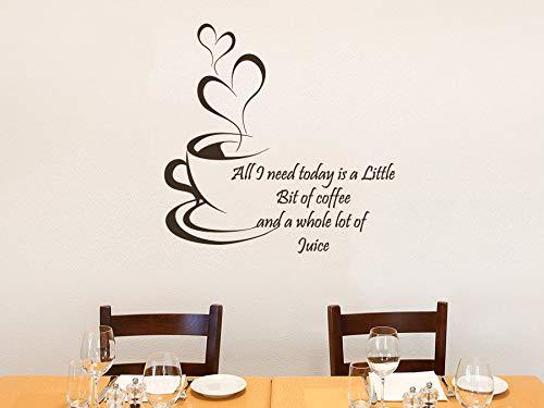 Muurtattoos Citate Alles wat ik vandaag nodig heeft, is een beetje koffie en een hele hoop sap decoratieve vinyl stickers voor de keuken KN20