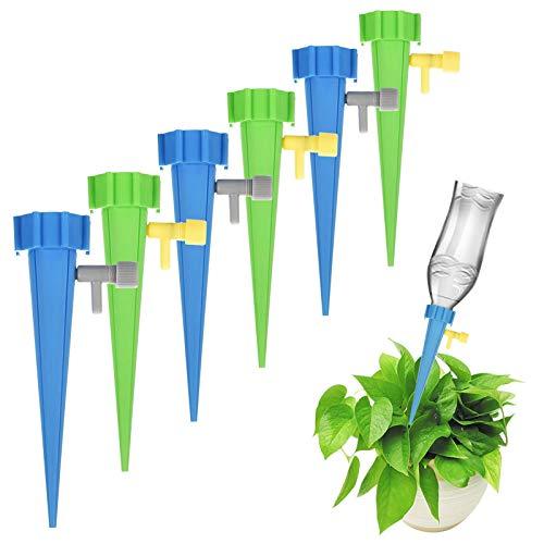 Automatisch Bewässerung Für Topfpflanzen,Urlaub Wasserspender Einstellbar Bewässerungssystem mit Steuerventilschalter,Selbstbewässerungsspike,Garten zur Garten Pflanzen Blumen Zimmerpflanze 12 Stück