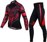 CLQ Jersey de Ciclismo para Hombre, Polar de Invierno, de Manga Larga, cálido, Transpirable, Jersey y pantalón con Baberos para Hombre, Deportes de Ciclismo al Aire Libre-Rojo_XXXL