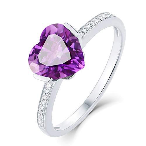 AueDsa Anillos Púrpura Anillo de Oro Blanco para Mujer 18 K Corazón Amatista Púrpura Blanca 1.68ct Anillo Talla 17