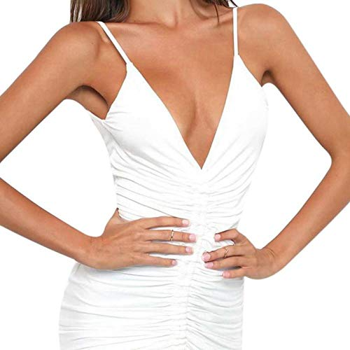 SJHJA Sexy Negligee Exotic Apparel Frauenkleid Sexy Kleid Mit V-Ausschnitt Und Rückenfreien, Figurbetonten Kleidern Bandagenkleider-D_L