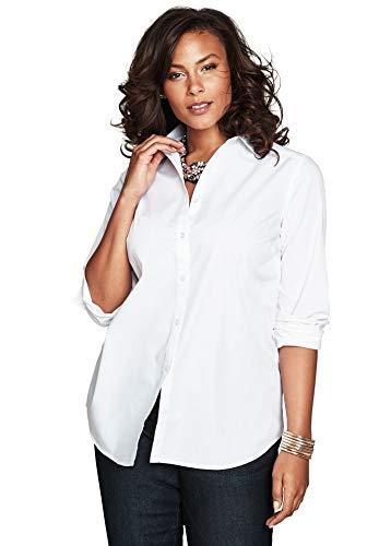 Roamans Women's Plus Size Long-Sleeve Kate Bigshirt Button Down Shirt Blouse - 16 W, White