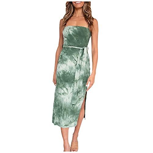 Vestido de verano para mujer, con tirantes de espagueti, estilo informal, sin mangas, para cóctel, vestido midi, naranja, L