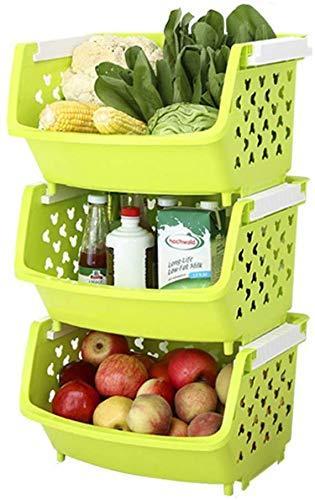 Solid 3-pack, cart immagazzinaggio multifunzionale con cesto maglia di plastica, utilizzato for la verdura immagazzinaggio cestino di immagazzinaggio cestino del giocattolo manufatto, dimensioni (37 *