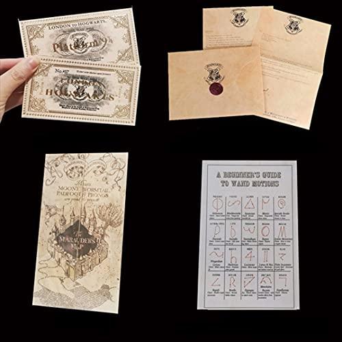 WOZWZ Harry Potter Live Point Map Boleto De IDA Y Vuelta Aviso De Admisión Cuaderno Diario Juego De Papelería Regalo De Cumpleaños Juego De Cuaderno/Mapa (4pc)