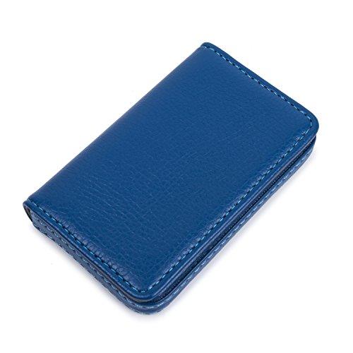 Leather Business Card Holder for Men Women, UBAYMAX Business Name Card Case Credit Card Holder Slim Card Wallet Carrier Leather Card Pocket Card Holder with Magnetic Shut Blue