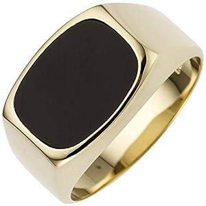 JOBO Herren-Ring aus 585 Gold mit Onyx Größe 64