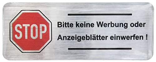 3D Briefkasten Aufkleber Alu gebürstet - 402201 - Groß