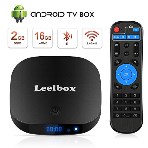 TV Box Android TV Sistema 8.1 - Leelbox Smart TV Box 2GB RAM & 16GB ROM, widevine L1, 4K*2K UHD H.265, USB*2, WiFi Media Player, Android Set-Top Box