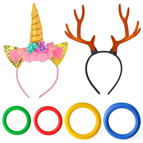 Beelittle Unicorn& Reindeer Antler Ring Toss Game Unicorn Horn Headband and Toss Ring Set for Kids Family Carnival Garden Backyard Outdoor Games Birthday Party Decoration Supplies (Set B)