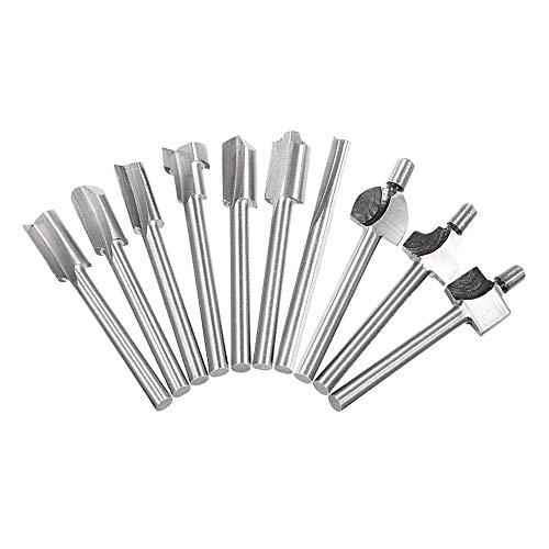 Saipor 10 Stück HSS Fräser Set Oberfräser Bits für Dremel 3mm (1/8