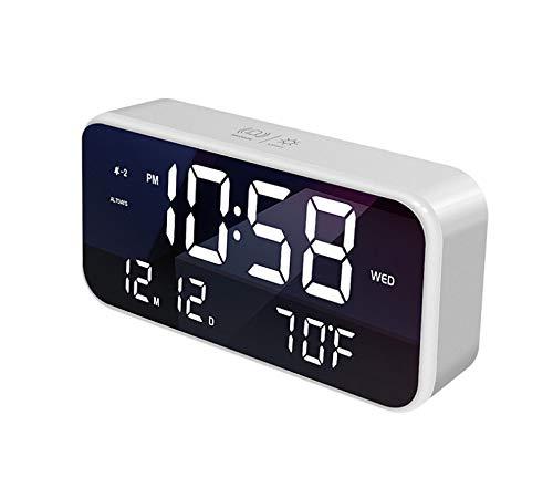 Led Digitale Klok Wake-Up Lamp Wekker Bureaulamp En Zonsondergang Nachtlampje Kinderkamer Decoratie Bureauklok Wit