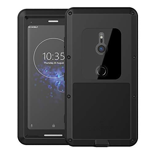 Eastcoo Sony Xperia XZ3 Hülle Case, Wasserdicht Stoßfest Alloy Aluminum Metal Bumper Gorilla Glass Soft Silikon Military Schwer Metall Starkes Hartes Hülle Tasche Cover für Sony Xperia XZ3 (Black)