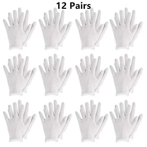 Gants réutilisables en Coton Blanc Gants Souples élastiques Minces pour la Main sèche hydratant l'eczéma cosmétique Hand Spa Coin Bijoux Inspection - 12 Paires