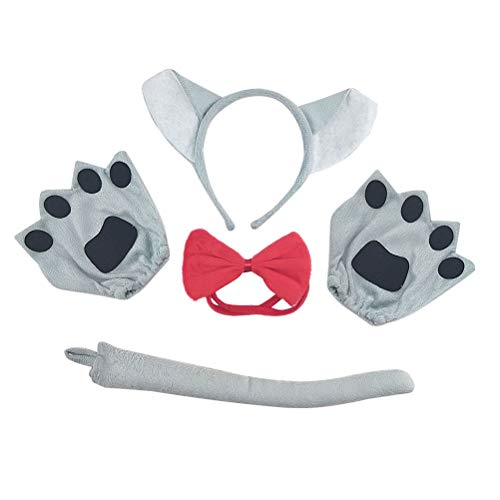 Amosfun Wolf Kostüm Halloween Kostüme Kinder Cute Cartoon Kostüm Anzug Timber Wolf Stirnband Fliege Schwanz Handschuhe Set Performance Requisiten