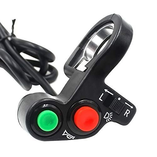 Schimer Motorfiets elektrische auto driewieler hoorn/knipperlicht licht/koplamp multifunctionele combi schakelaar - zwart