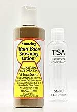 Maui Babe Browning Lotion 4oz Bundle with SMFE 3.4 oz / 100 ml TSA Travel Bottle Carry On Size