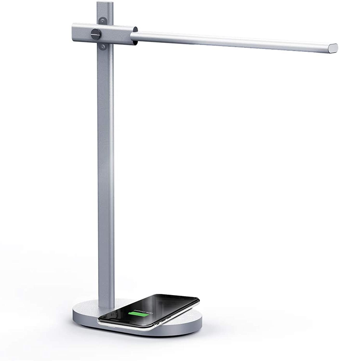 MOMAX LED Desk Lamp with Wireless Charging Pad, Premium Metal Table Lamp with 5 color Temperatures (2800-6500K) & 6 Brightness Levels - 5V 1A USB Charging Port, 1 Hour Timer & Memory Function