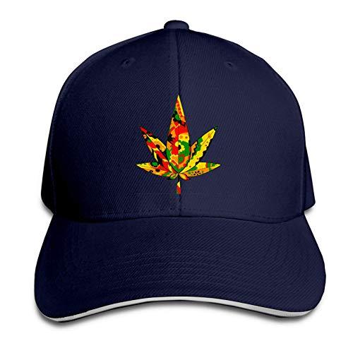 FOREVER ME Rasta Colors Marihuana - Gorra de béisbol ajustable de perfil medio para hombre