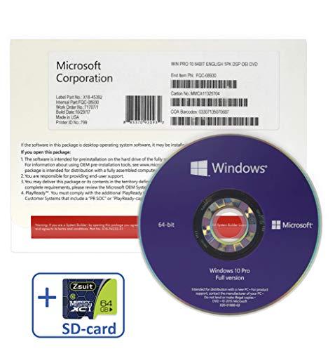 Wíndows 10 Professional 64 bit OEM DVD BUNDLED WITH Zsuit 64GB MicroSD Card | English Version | 1 PC
