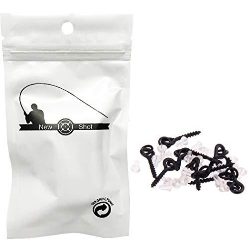 NEWSHOT 10Pcs Fishing Bait Screws & 20Pcs Hook Stops, Fish Pop Up Peg CrankBaits Holder Screw Eyes With Link Loop Terminal Tackle Accessories