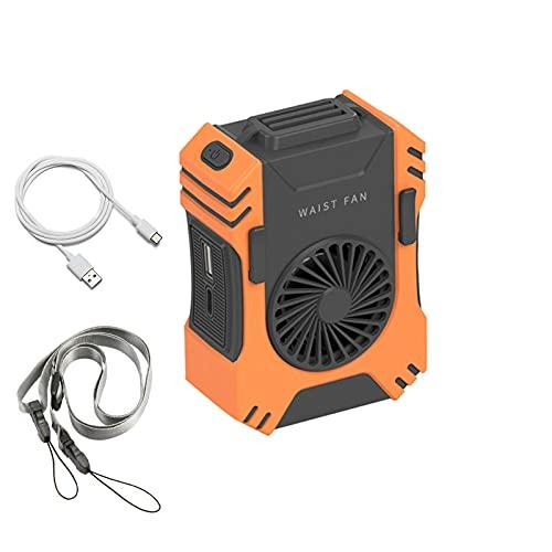 ZSLMX Ventilador portátil multifunción con Clip en la Cintura, 3 en 1 Spotlight Power Bank Ventilador de Cuello Recargable por USB 5000mA, Ventiladores de refrigeración Ajustables de 3 velocidades