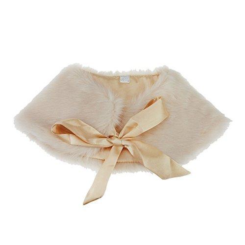 Liyinguk - Bolero de piel sintética con esclavina acordada, cálido chal de princesa para vestido de damisela de honor otoño / invierno para niña champán Talla única