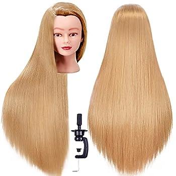 FABA Mannequin Head with Hair 26 -28  Hair Doll Cosmetology Mannequin Head Practice Braiding Cosmetology Doll Head Hair with Free Clamp Holder