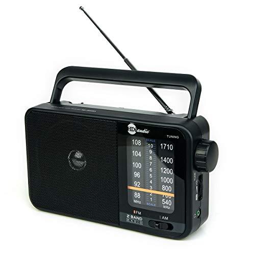 HDi Audio Home Portable Retro AM/FM Radio Player + Headphone Jack + Built in Speaker Rugged   Large Tuning Knob   Best Reception (Black)