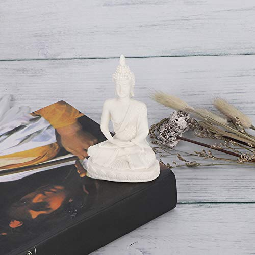 AUNMAS Buddha Meditative Statue Small Sitting Sandstone Carving Harmonious Figurine Craft Collectible Feng Shui Sculpture Decor for Home Office Desktop Table Decoration, White 4.3Inch