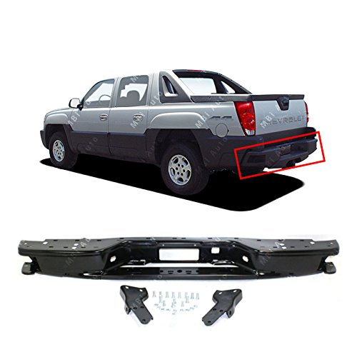 MBI AUTO - Black, Steel Rear Step Bumper W/Brackets for 2002-2006 Chevy Avalanche 02-06, GM1106559