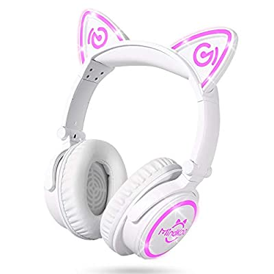 Cat Ear Headphones, LED Foldable Over Ear Bluetooth Headset with Mic by MindKoo