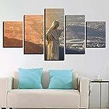 QQWER 5 Paneele Leinwand Wandkunst Sonnenuntergang Cristo