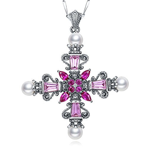 Merthus Antique Style Womens 925 Sterling Silver Created Gemstone Celtic Cross Necklace
