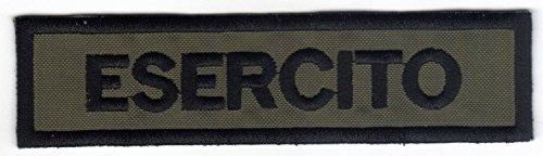 Patch ESERCITO cm 12 x 3 su verde militare toppa ricamata ricamo -106d