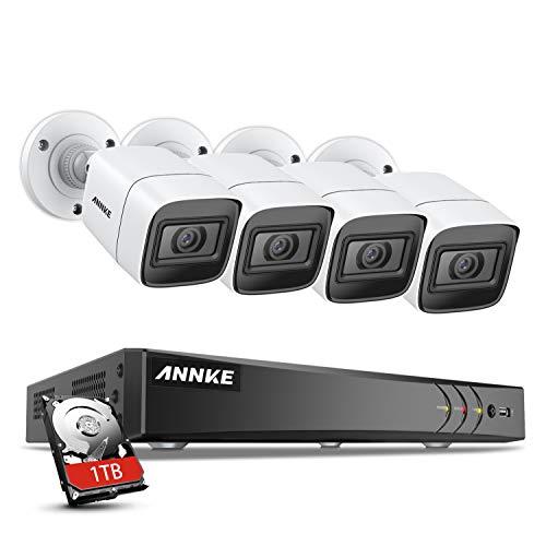ANNKE Kit de Seguridad 4K Cámara 8CH DVR H.265+ con 1TB Disco Duro de Vigilancia + 4 Cámaras de Vigilancia Ultra HD Impermeable IP67, Visión Nocturna de 100pies/30m Múltiples idiomas-1TB HDD