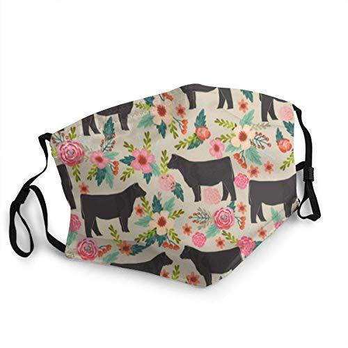 Show Steer Cows Farm Barn Florals Design Face Masks Washable Reusable Safety Masks Shield Balaclava Outdoor Sports Black